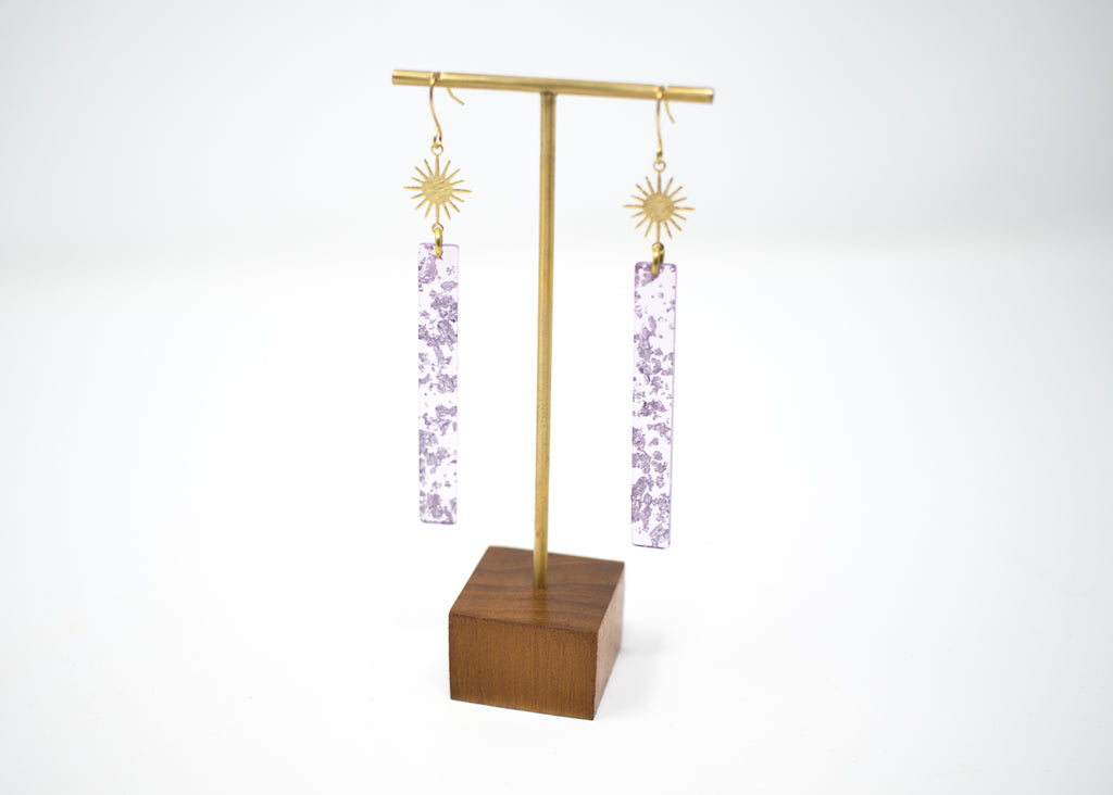 Starburst Purple Glitter Earrings