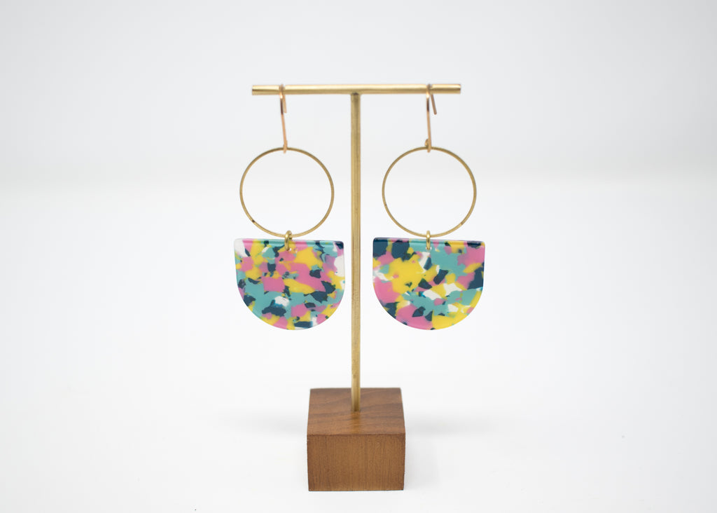 Vibrant Speckle Statement Earrings