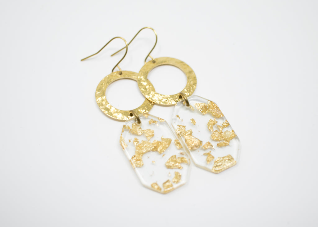 Gold Flake Hex Earrings