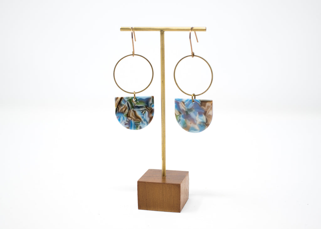 Blue Swirl Statement Earrings