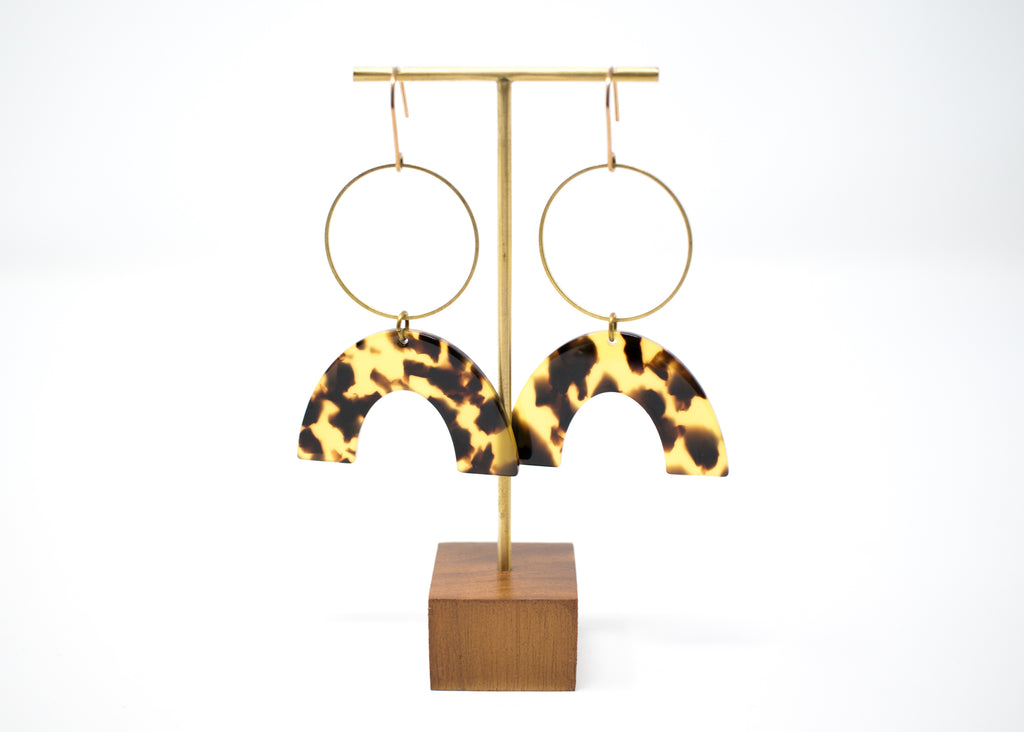 Tortoiseshell Arc and Hoop Earrings