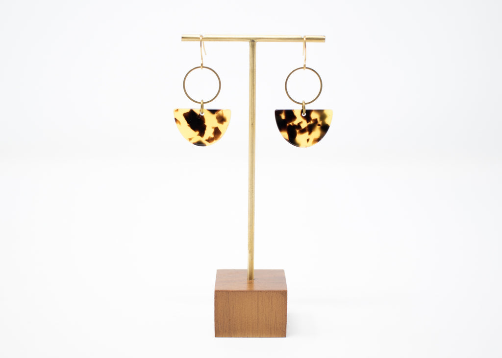 Tortoiseshell Mini Arc Earrings