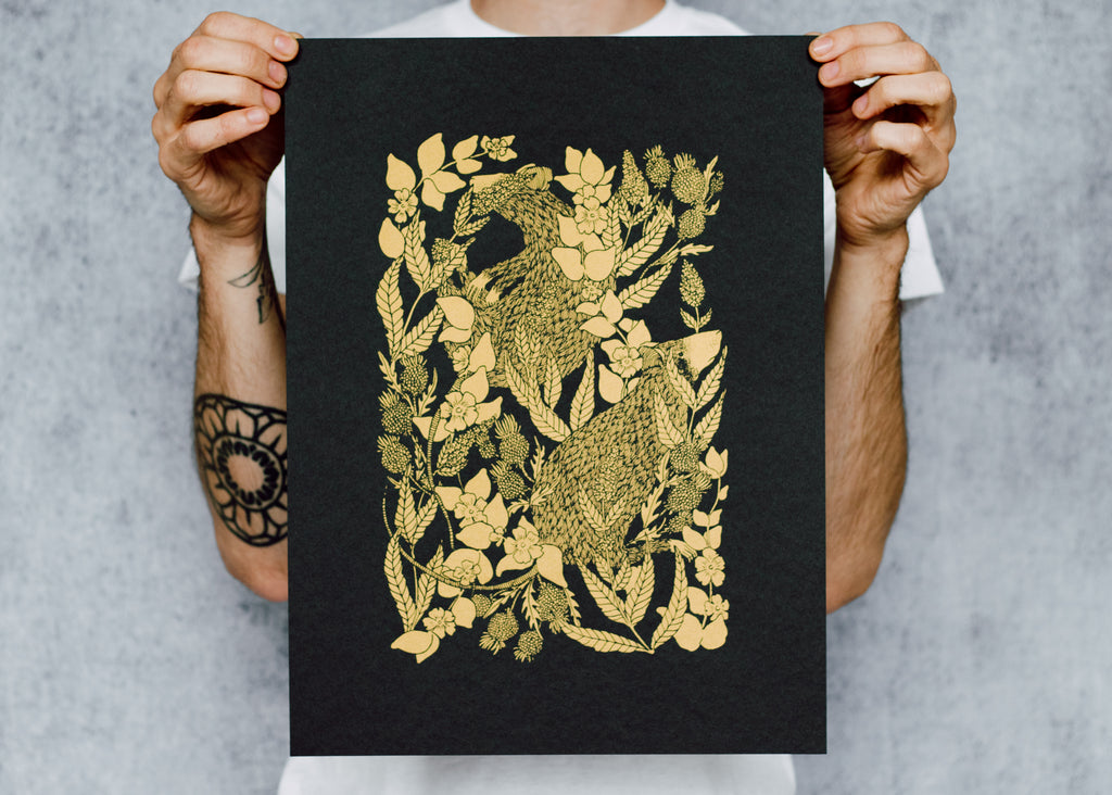 Limited Edition Metallic Rat and Thistle Poster