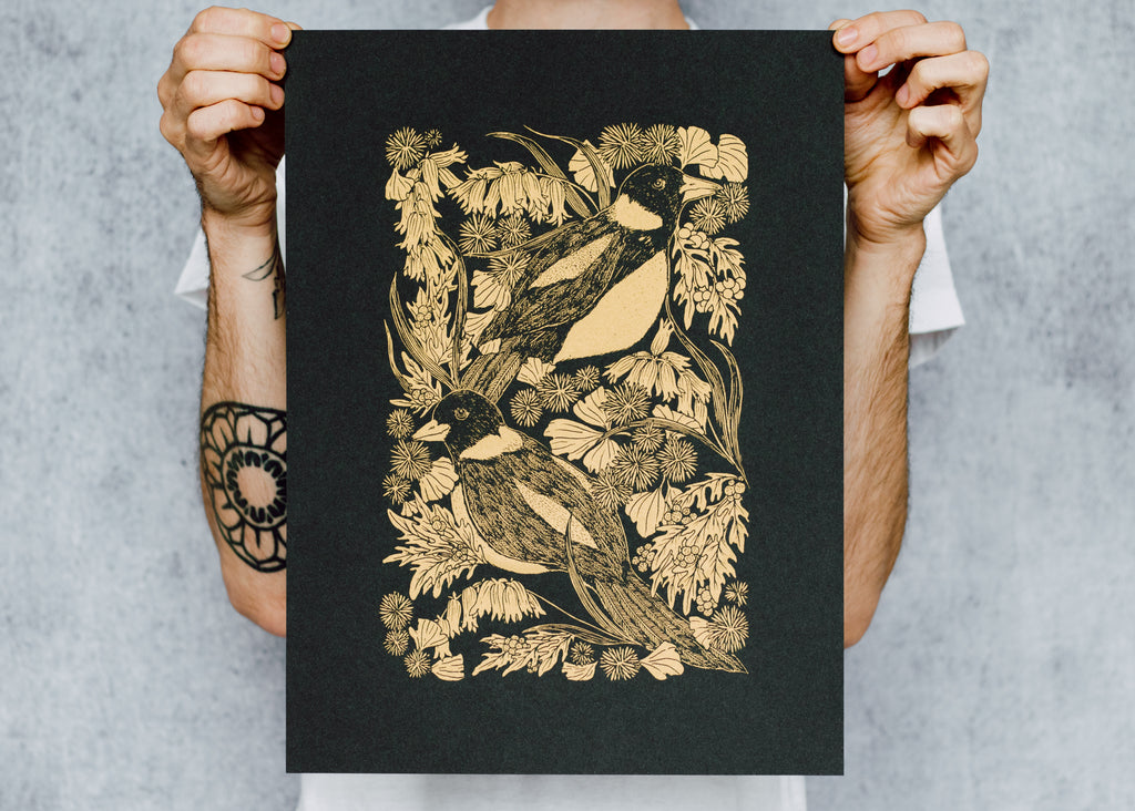 Limited Edition Metallic Magpie and Bontanicals Poster