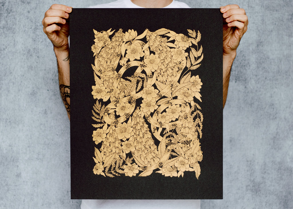 Limited Edition Metallic Snake and Foxglove Poster