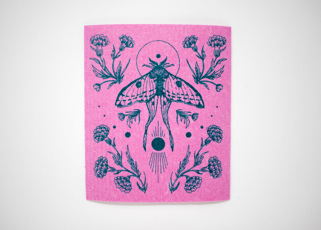 Pink Moth Shrine Swedish Dishcloth