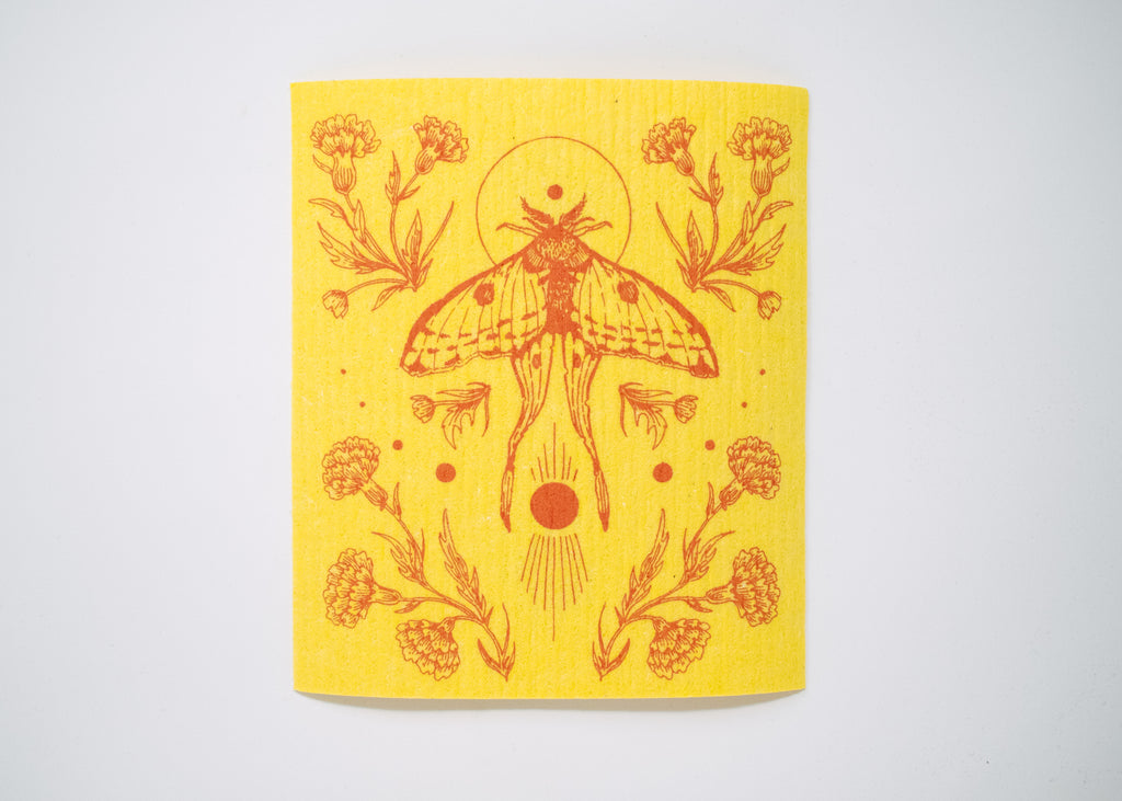 Yellow Moth Shrine Swedish Dishcloth