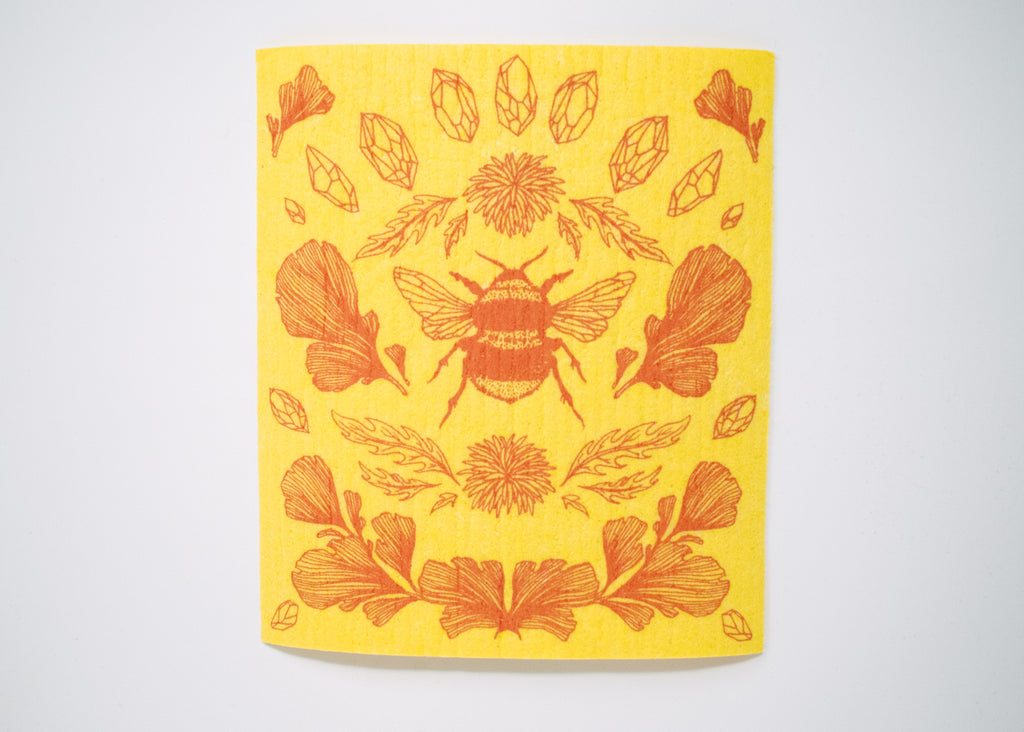 Yellow Bee Shrine Swedish Dishcloth