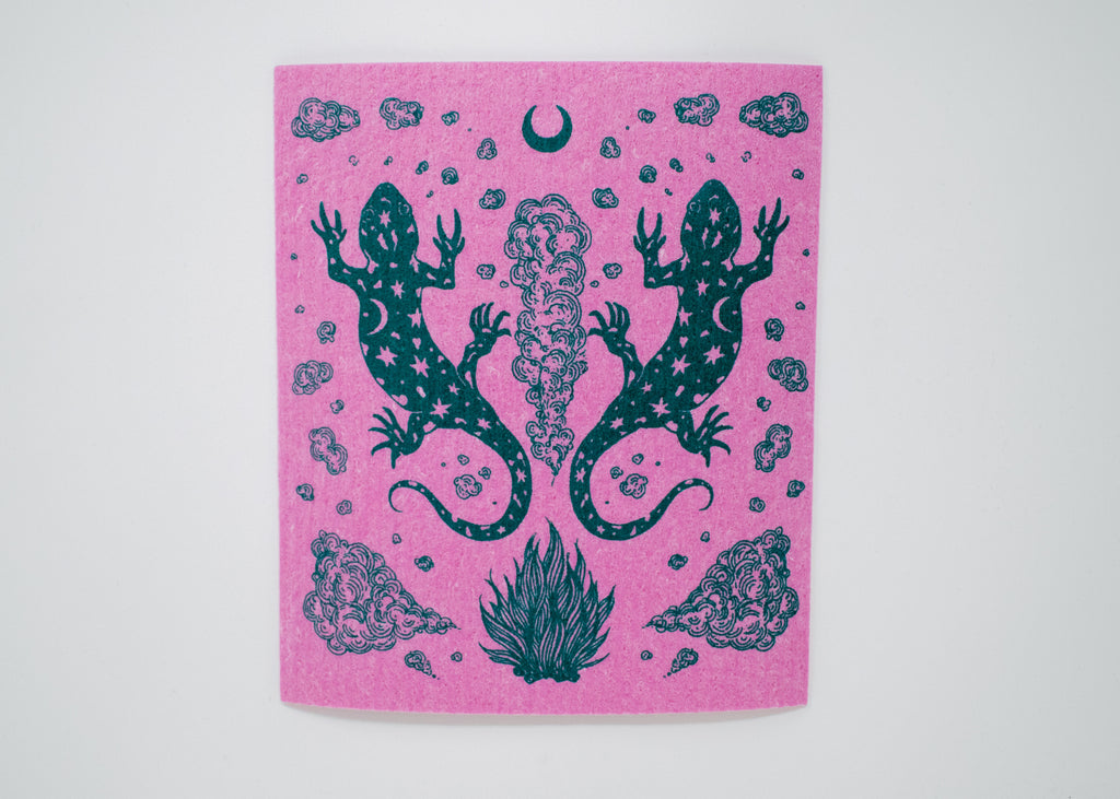 Pink Salamander Shrine Swedish Dishcloth