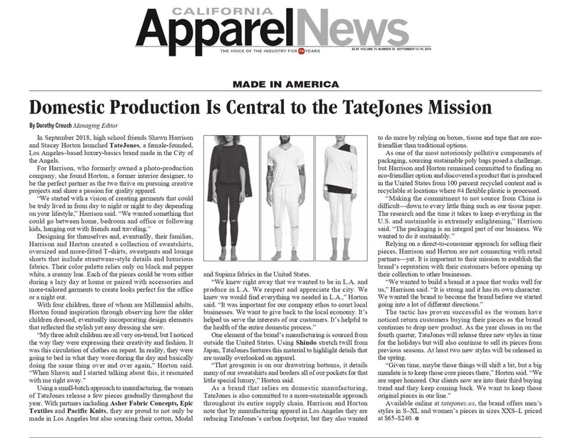TATEJONES featured in California Apparel News.