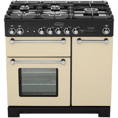 Rangemaster KCH90DFFCR/C Kitchener 90cm Dual Fuel Range Cooker - Cream Chrome