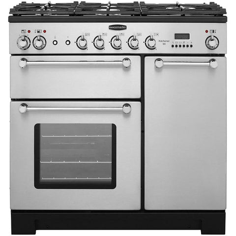 Rangemaster KCH90DFFSS/C Kitchener 90cm Dual Fuel Range Cooker - Stainless Steel/Chrome