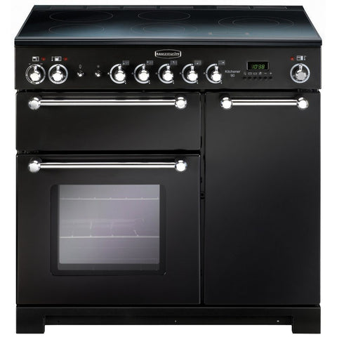 Rangemaster KCH90ECBL/C Kitchener 90cm Electric Range Cooker - Black Chrome