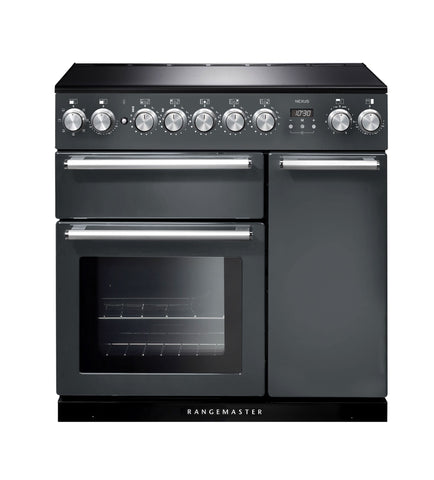 Rangemaster NEX90EISL/C Nexus 90cm Induction Range Cooker - Slate/Chrome 106180