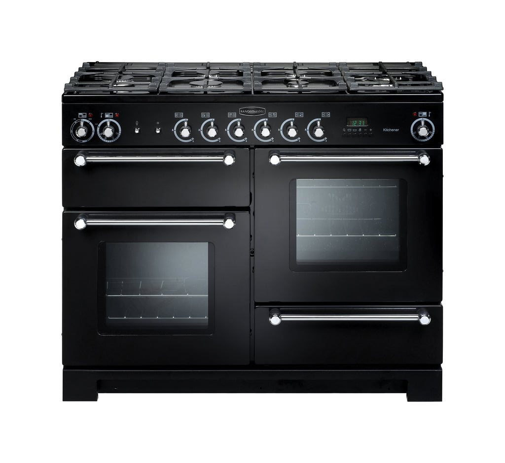 Rangemaster Kitchener KCH110NGFBL/C 110cm Gas Range Cooker - Black/Chrome 116690