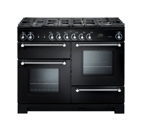 Rangemaster KCH110DFFBL/C Kitchener 110cm Dual Fuel Rangecooker- Black/Chrome 76280