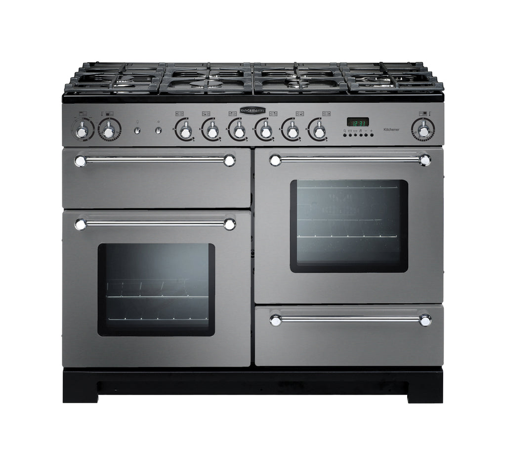 Rangemaster Kitchener KCH110NGFSS/C 110cm Gas Range Cooker - Stainless Steel/Chrome 116710