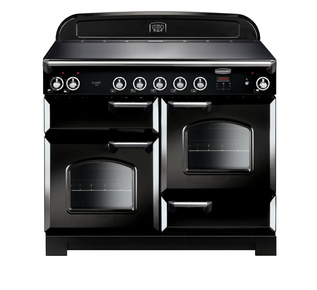 Rangemaster CLA110EIBL/C Classic 110cm Induction Range Cooker - Black/Chrome 117030