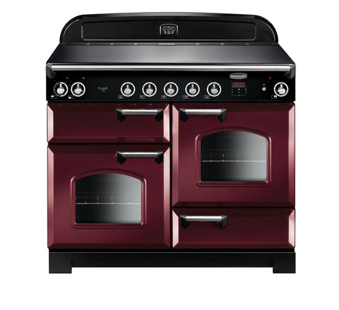 Rangemaster CLA110EICY/C Classic 110cm Induction Range Cooker - Cranberry/Chrome 117050