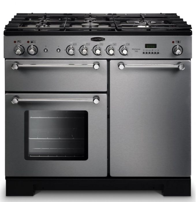 Rangemaster KCH100NGFSS/C Kitchener 100cm Gas Range Cooker - Stainless Steel/Chrome