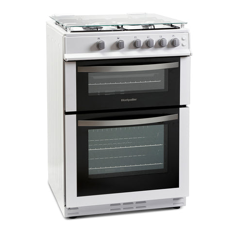 Montpellier MDG600LW 60cm Double Oven Gas Cooker - White-with Lid