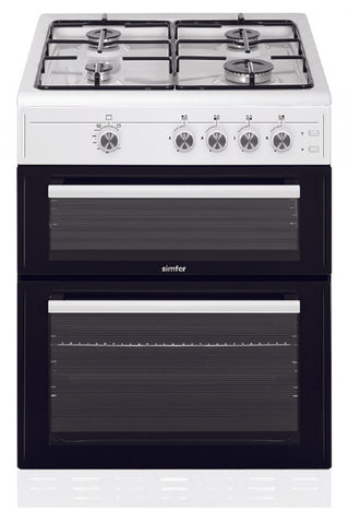 Simfer SCO62GW 60cm Twin Cavity Gas Cooker - White