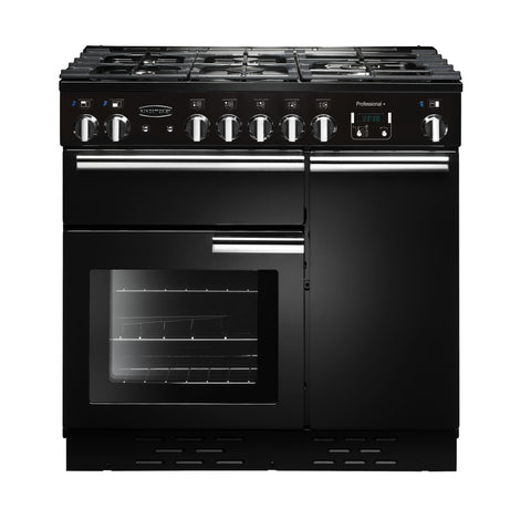 Rangemaster PROP90NGFGB/C Professional Plus 90cm Gas Range Cooker - Black/Chrome 91930