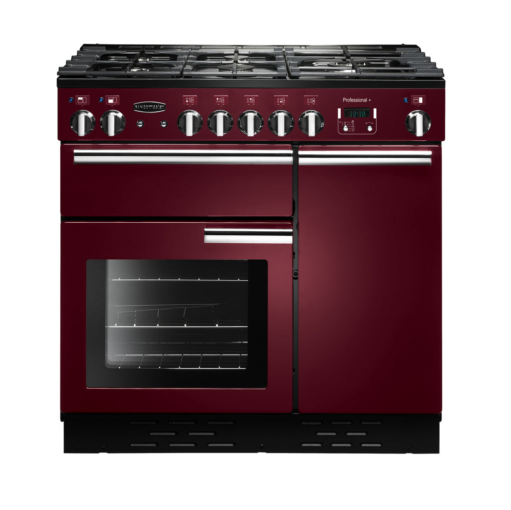 Rangemaster PROP90NGFCY/C Professional Plus 90cm Gas Range Cooker - Cranberry/Chrome 91940
