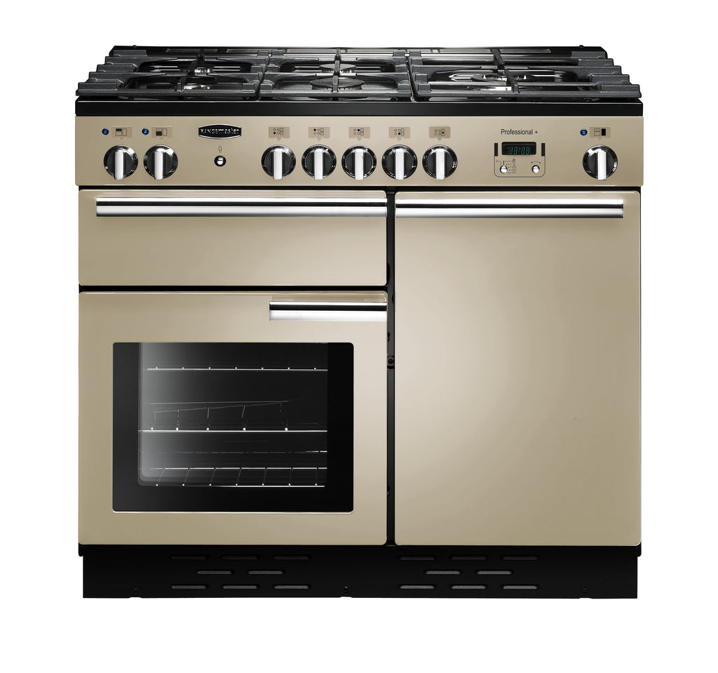 Rangemaster PROP100DFFCR/C Professional Plus 100cm Dual Fuel Range Cooker - Cream/Chrome 92610