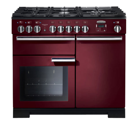 Rangemaster PDL100DFFCY/C Professional Deluxe 100cm Dual Fuel Range Cooker -Cranberry/Chrome 97580