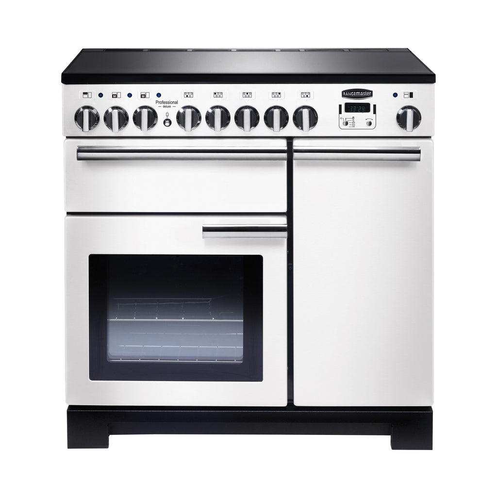 Rangemaster PDL90EIWH/C Professional Deluxe 90cm Induction Range Cooker - White/ Chrome 98740