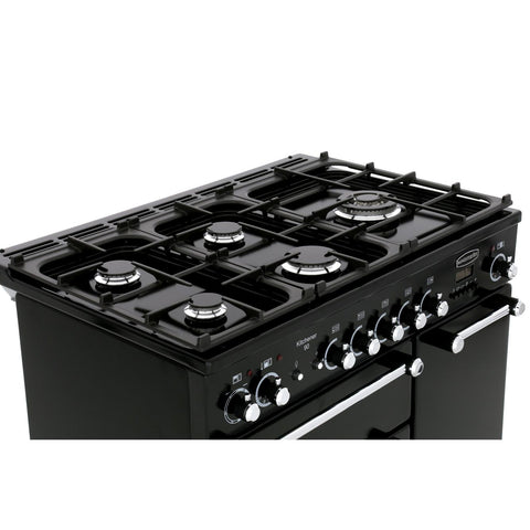Rangemaster KCH90NGFBL/C Kitchener 90cm Gas Range Cooker - Black Chrome