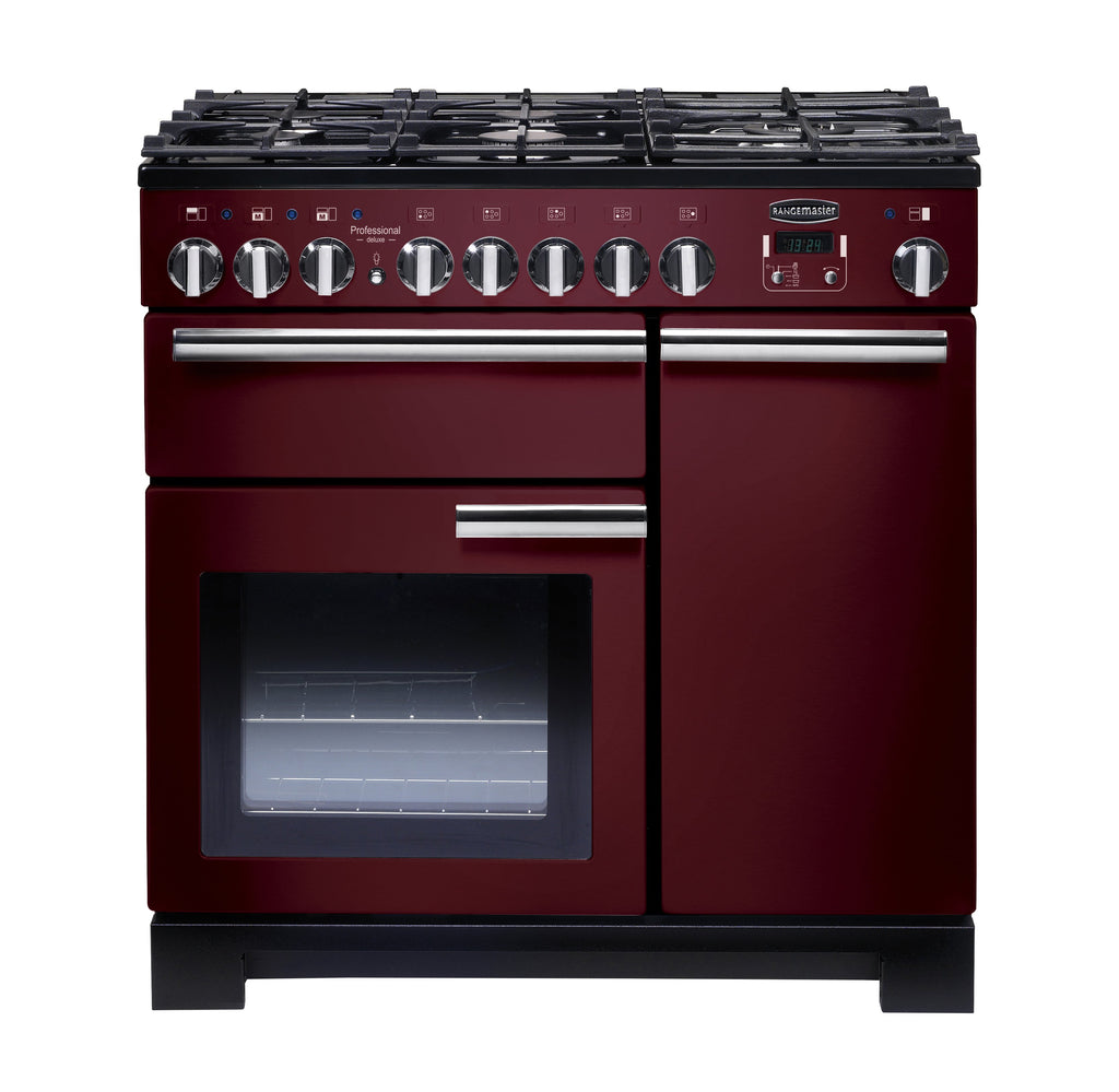 Rangemaster PDL90DFFCY/C Professional Deluxe 90cm Dual Fuel Range Cooker - Cranberry/Chrome 97620