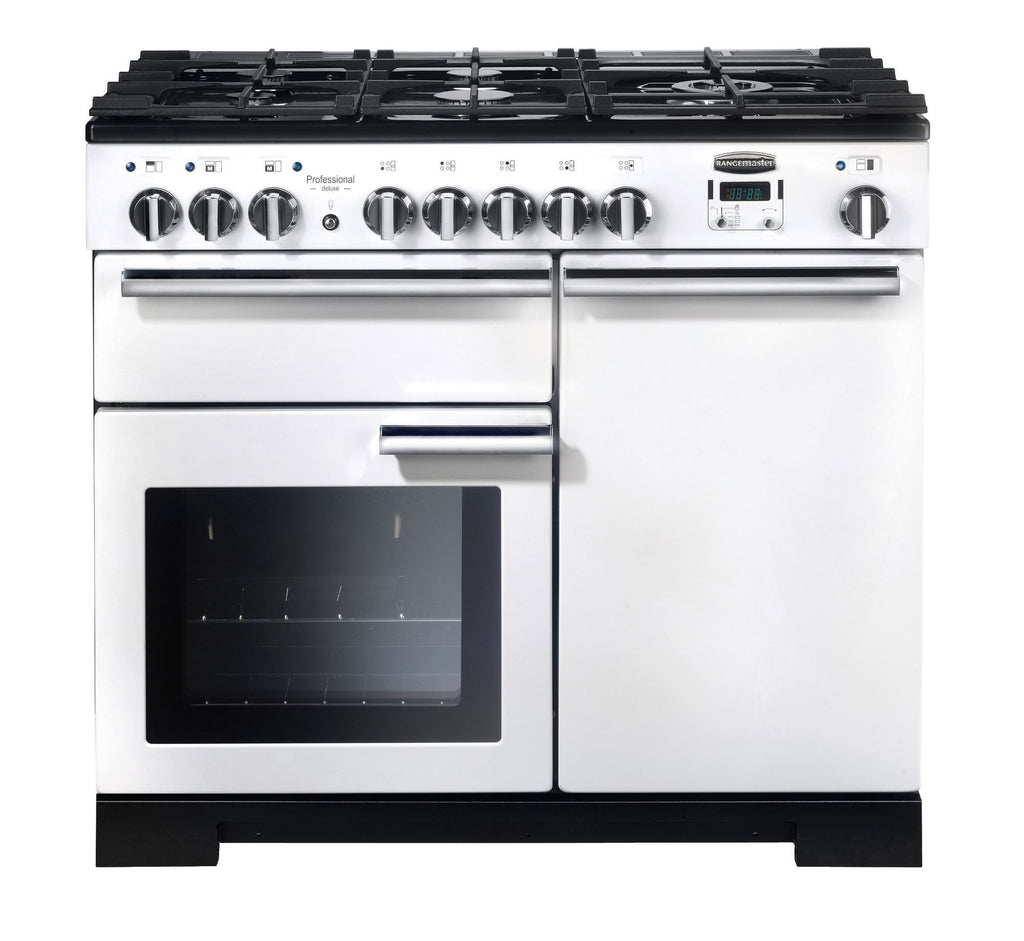 Rangemaster PDL100DFFWH/C Professional Deluxe 100cm Dual Fuel Range Cooker - White/Chrome 98950