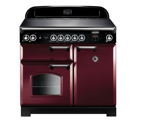 Rangemaster CLA100ECCY/C Classic 100cm Electric Range Cooker - Cranberry/Chrome 117620
