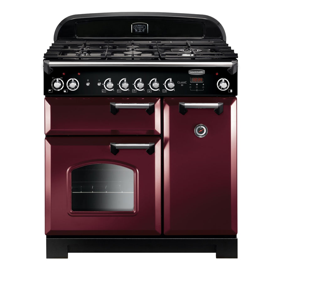 Rangemaster CLA90DFFCY/C Classic 90cm Dual Fuel Range Cooker - Cranberry/Chrome 116510