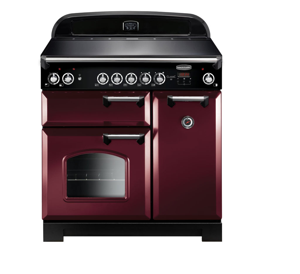 Rangemaster CLA90ECCY/C Classic 90cm Electric Range Cooker - Cranberry/Chrome 117440
