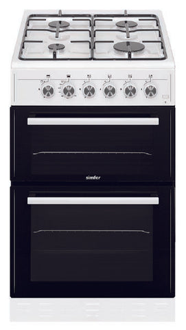 Simfer SCO52GW 50cm Twin Cavity Gas Cooker - White