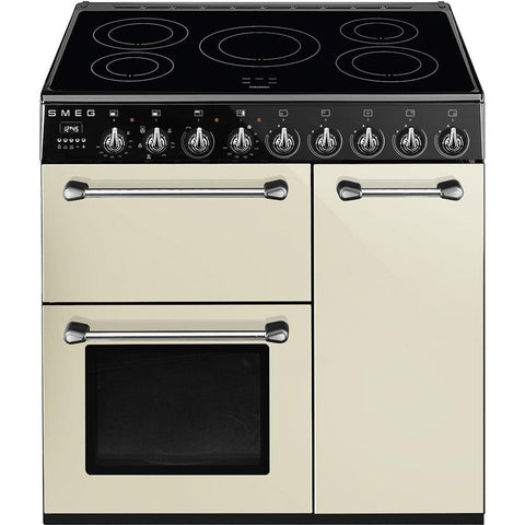 Smeg BM93IP 90cm Electric Induction Range Cooker - Cream
