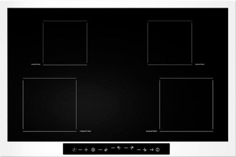 Baumatic OMBRA2W 77cms Induction Hob - White And Black Glass
