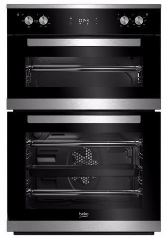 Beko BXDF25300X Built-In Electric Double Oven - Black/Stainless Steel