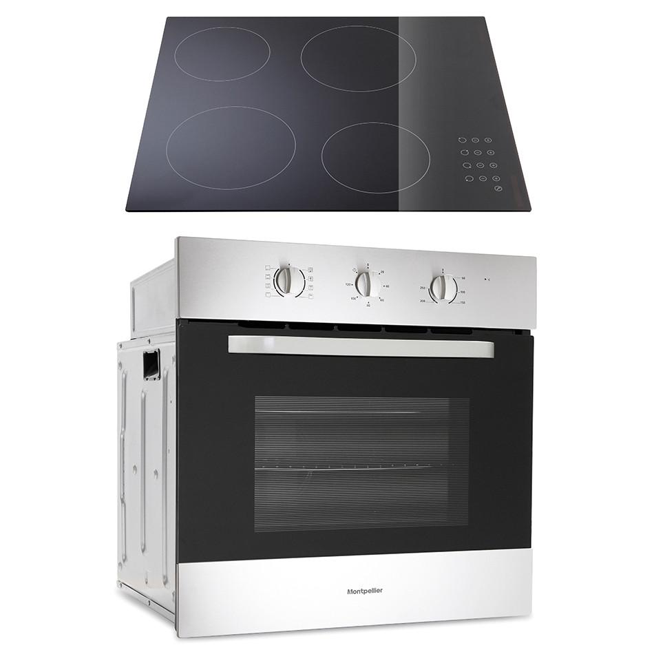Montpellier SFOP60MC Built-In Electric Single Oven - Stainless Steel Oven & Black Glass Hob