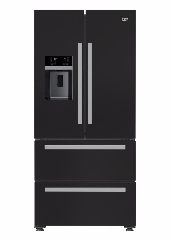 Beko GRNE60520DB American Fridge Freezer Frost Free - Black