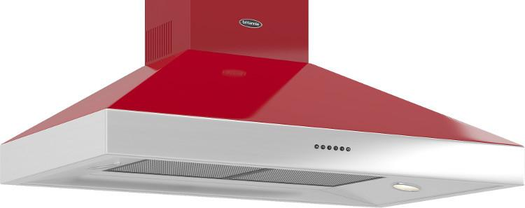 Britannia BTH1000 Latour 100cm Chimney Cooker Hood - Gloss Red and Stainless Steel