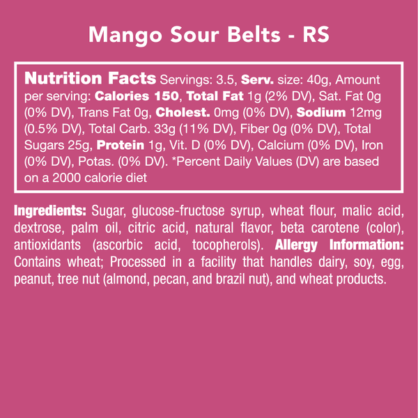 Candy Club Mango Sour Belts