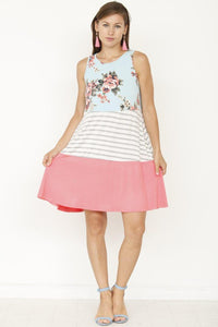 'Aurora' Floral Stripe Color Block Dress