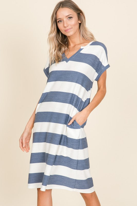 Bold Navy Stripe French Terry Dress