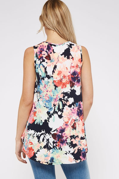 Bright Blooms Floral Tank Top