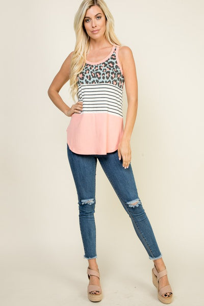 Leopard Print Color Block Tank