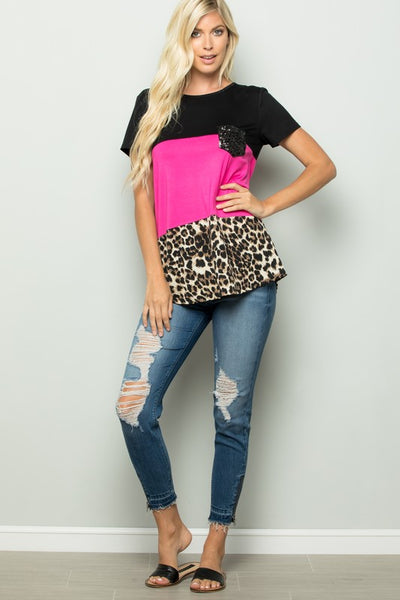 Leopard Color Block Sequin Pocket Top